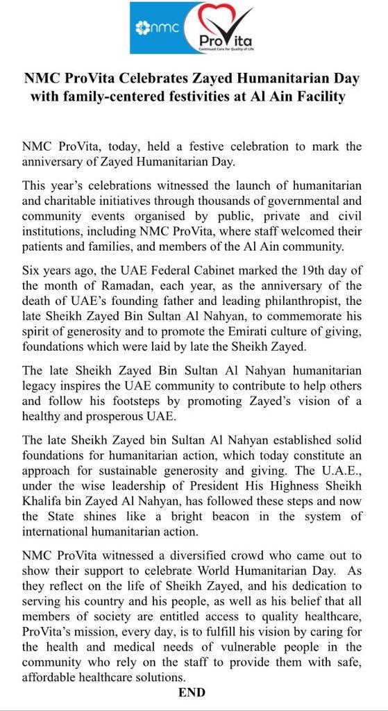 NMC ProVita Celebrates Zayed Humanitarian Day