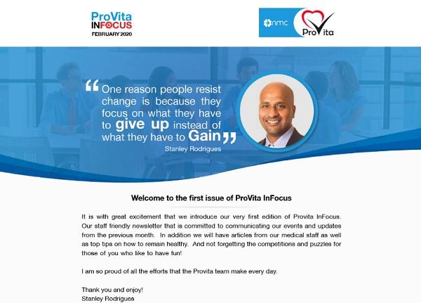 "1st Edition of the Newsletter "" ProVita InFocus"""