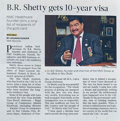 Dr. B. R. Shetty receives long term 10-year UAE residency visa