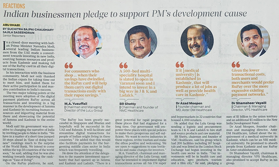 Indian businessmen in the UAE pledge to support Modi's cause