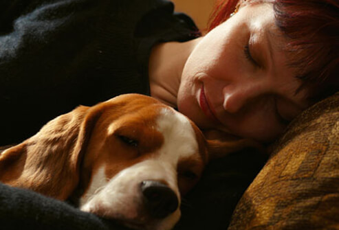 A woman takes a nap with her dog.