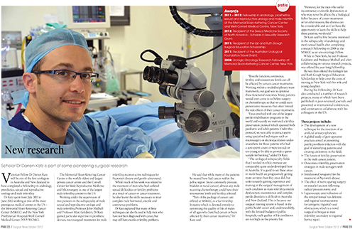 Scholar Mr Darren Katz is part of some pioneering surgical research