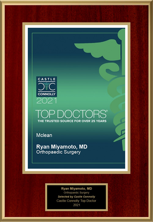 Dr. Ryan Miyamoto was again listed as one of Castle Connolly's Top Doctors in the field of Orthopaedic Surgery for 2021.