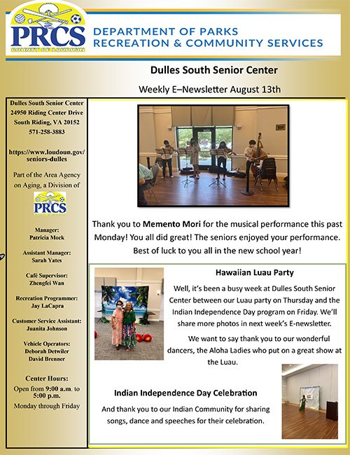 Dr. Miyamoto will be giving a talk on Treatment Options for Shoulder Pain at the Dulles South Senior Center on August 31st at 1PM.